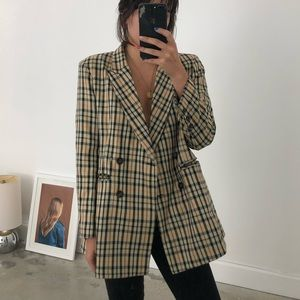 Jackets & Blazers - Plaid Tan Double Breasted Blazer w Shoulder Pads
